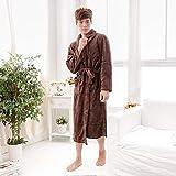FGDSA Bata Larga de Color Rosa Liso para Mujer, Bata Kimono de Franela, camisón cálido, Ropa de Dormir, Bata de baño Suave Informal Coral, Ropa de Dormir, Mujer N, XL