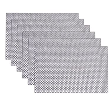 Placemats,JoyFamily Washable Place Mats Woven Vinyl Non-slip Placemats for Dining Table or Kitchen,Set of 6(Silver)