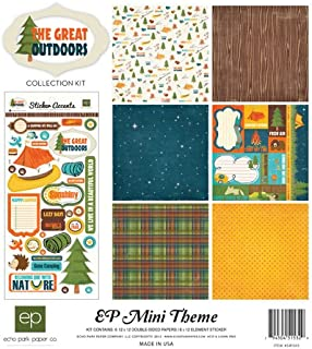 Echo Park - The Great Outdoors 12x12 Mini Theme Scrapbooking Kit - Item # SW505TM - Copyright 2019 - Camping and Nature - Canoes, Tents, Sleeping Bags, Trees, Birds, Smores, Bugs, and Fishing Poles