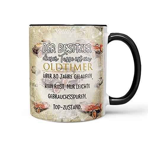 Sunnywall Fun Tasse mit Oldtimer Spruch zum 80. Geburtstag Kaffeetasse (80. Geburtstag) inkl. gratis Geschenkkarte