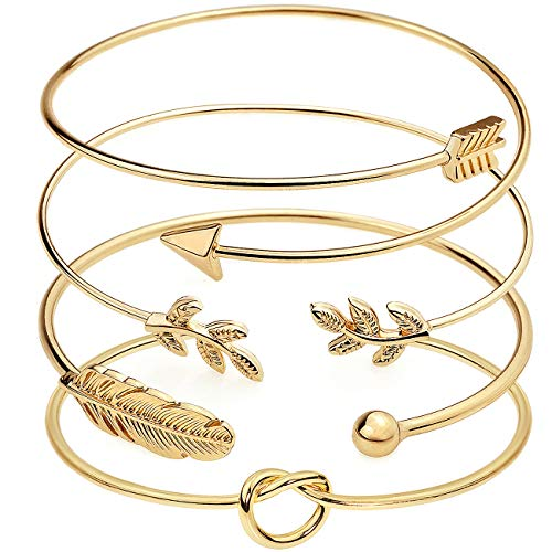 Suyi 4 Stück verstellbares Manschettenarmband Stackable Wrap Bracelet Set mit offenem Drahtarmreif für Frauen Gold