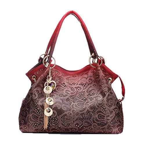 Hollow Out Ombre Handbags Floral Print Shoulder Bags Ladies Tote Bag Female Tassel Handbag Top-handle Bags