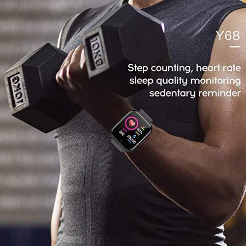 Smartwatch, Fitness Armband, Fitness Tracker, Smart Watch D20, Y68 Wasserdicht, Fitness Uhr mit Pulsmesser, Schrittzähler, Damen und Herren Armbanduhr, Sportuhr für iOS und Android (schwarz)