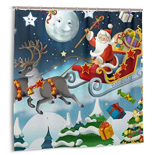 VVTDESA Merry Christmas Santa Claus Reindeer Sled Printed Shower Curtains,Waterproof Fabric Bathroom Shower Curtain with 12 Proof Hooks,72' X 72'