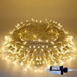 Christmas String Lights, 220 LED Indoor/Outdoor Waterproof 8 Modes 25m/82ft Fairy Twinkle Lights End-to-End Plug in, for Christmas Tree Garden Wedding Party Home Patio Lawn Decoration(Warm White)