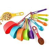 EigPluy Cucharas Medidoras,Juego 12 Piezas Cucharas y Tazas Medidoras de Plástico, Tazas Medidoras Cocina para Medir Líquidos y Los Ingredientes para Cocción y Horneado