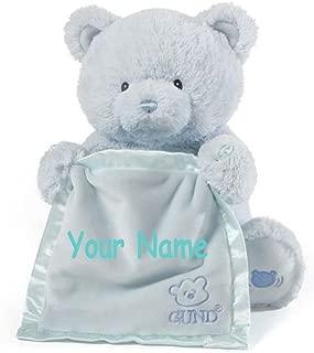 Personalized GUND Animated Blue Peek-A-Boo Teddy Bear Plush Stuffed Toy Animal