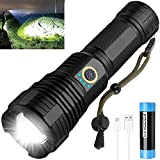 LED Flashlight Rechargeable, 90000 Lumens Super Bright Tactical Flashlights with Xhp70.2 Zoomable, 26650 Battery, IPX5 Waterproof Flash Light 5 Modes for Hiking, Camping, Outdoor, Emergency