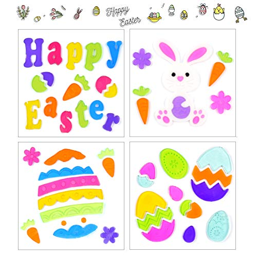 Jelly Sticker Decals for Refrigerators Window Home Bunny Egg Gel Clings Easter Decor Favor 6 Sheets Easter Gel Window Clings Decorations for Kids