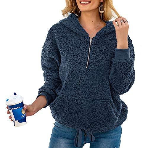 KJHKT Sudadera con Capucha de Punto de Manga Larga para Mujer Otoño Lnvierno Suave y Cálida con Bolsillos,Azul,XL