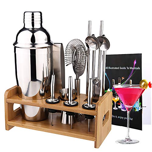 Diealles Shine Cocktailshaker Set Edelstahl, 13 Teiliges Barkeeper Set mit Bessere Bambus Ständer Cocktail Mixer, Rezeptbuch, 750 Ml Cocktail Geschenk Set für Zuhause Oder die Bar
