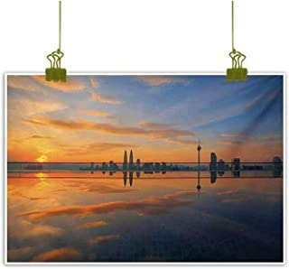 Landscape Painting Magical Sunrise at The Pond with Sky View Morning Serene Silent New Day Image Orange Blue for Living Room Bedroom Hallway Office 24