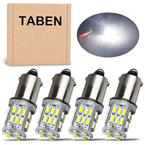 TABEN Blanc BA9 BA9S 53 57 1895 64111 T4W LED 3014 SMD 2.2W Ampoules pour Plaque d'immatriculation de Voiture Lumière de Porte latérale Porte de courtoisie Lampe de Carte intérieure DC 12V (4pcs)