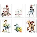 Toy Story 4 (2019) Watercolor Prints Set of 6 (8 inches x 10 inches) Poster Photos - characters include Woody - Buzz Lightyear - Forky - Duke Caboom - Bo Peep - Ducky - Bunny - Giggle McDimples