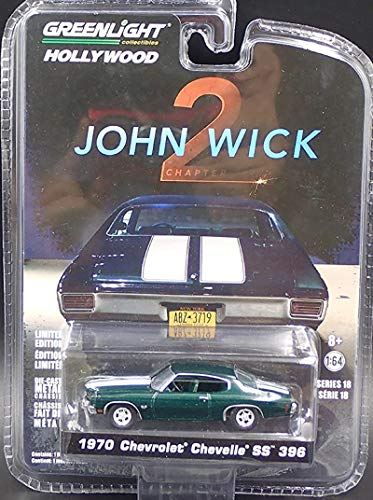 1970 Chevrolet Chevelle SS 396 John Wick Movie Chapter 2 (2017) Hollywood Series 18 1/64 Diecast Model Car by Greenlight 44780 F
