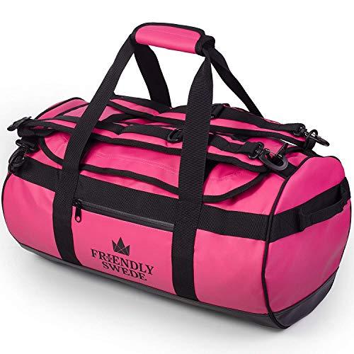 The Friendly Swede Wasserfeste Reisetasche Duffle Bag Rucksack - 30L / 60L / 90L - Seesack, Sporttasche Duffel Dry Bag mit Rucksackfunktion - SANDHAMN (Rosa, 30L)