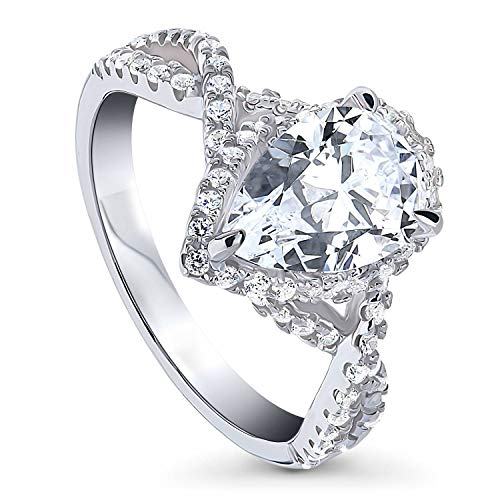 BERRICLE Rhodium Plated Sterling Silver Pear Cut Cubic Zirconia CZ Woven Halo Engagement Ring 2.18 CTW Size 4