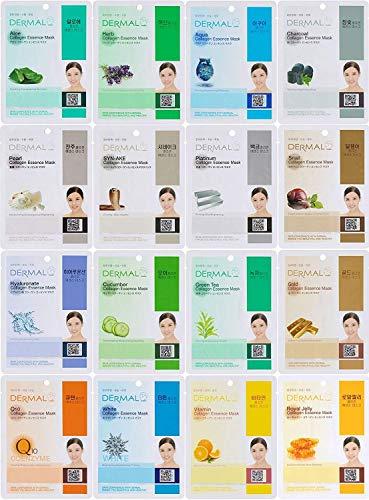Dermal Korea Collagen Essence Full Face Facial Mask Sheet, 16 Combo Pack - Christmas gift ideas for best friend girl example