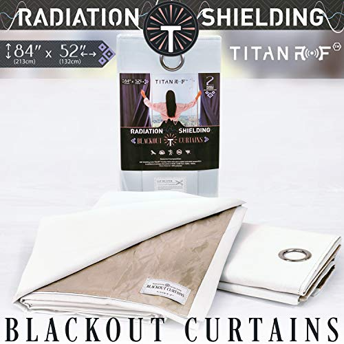 """Mission Darkness TitanRF Radiation Shielding Blackout Curtains, Barrier Against Radio Frequencies and EMF Exposure, Includes 2 White Panels with Metal Grommets (52"""" Width x 84"""" Length / 132cm x 213cm)"""
