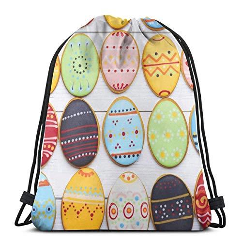 LREFON Mochila con cordón para gimnasio, mochila para galletas de Pascua, bolsa para almacenamiento de viaje, organizador de zapatos, bolsas de regalo de baloncesto para niños