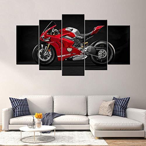 13Tdfc Cuadro En Lienzo 150X80Cm Ducati Panigale V4 R Race Motocicleta Impresión De 5 Piezas Material Tejido No Tejido Impresión Artística Imagen Gráfica Decoracion De Pared