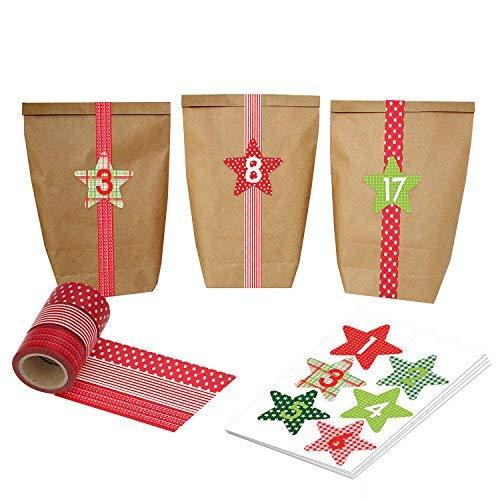 DIY Adventskalender mit Washi Tape - zum selber Basteln und Befüllen - rot - mit 24 Zahlenaufklebern und Papiertüten - Set 37