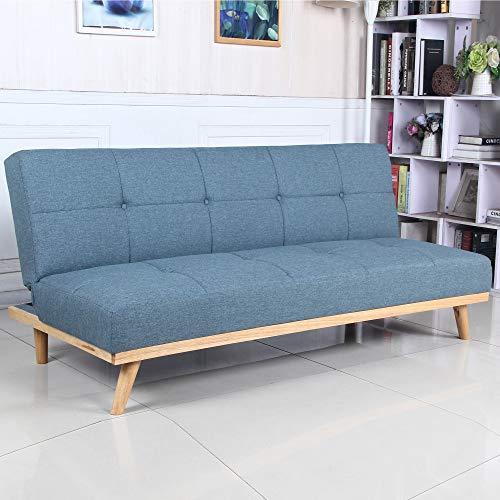 Sofá Cama 3 plazas Clic Clac Rimen Azul tapizado con Tela 100% Poliéster, Patas de Madera