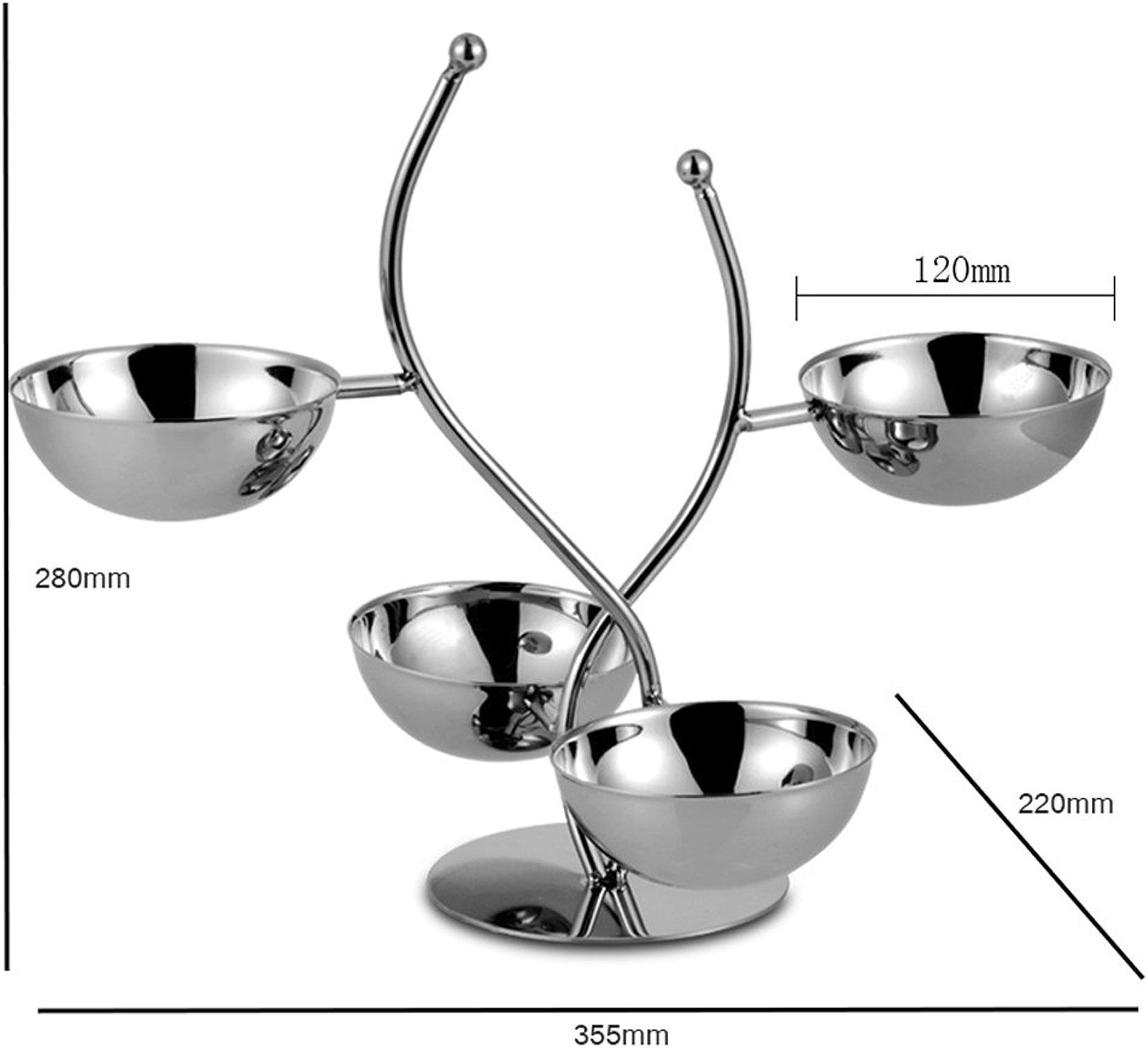 NYDZDM Panier de Dessert de Combinaison de Plat de Fruit d'étoile d'acier Inoxydable de 4 étoiles, Panier de Dessert de KTV (Taille   355  220  120mm)