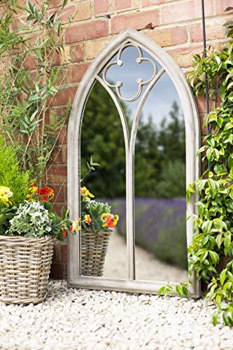La Hacienda Garden Mirror Church Window Stone Effect Outdoor Décor