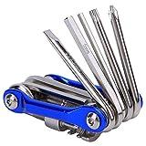 11 in 1 Strumento di riparazione bici Multitool, strumento per bicicletta Kit di riparazione pieghevole multifunzionale con tagliacarte T25 Attrezzatura da ciclismo per mountain bike