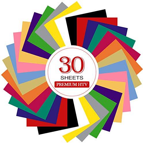 Paquete de 30 hojas de vinilo de transferencia de calor para silueta y kricut por SOMOLUX Weed Easier Heat Press vinilo, 12 pulgadas x 10 pulgadas, 15 colores DIY, diseño para camisetas