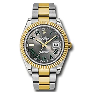 Fashion Shopping Rolex Datejust II 41 Grey Green Roman Dial Steel 18k Yellow Gold
