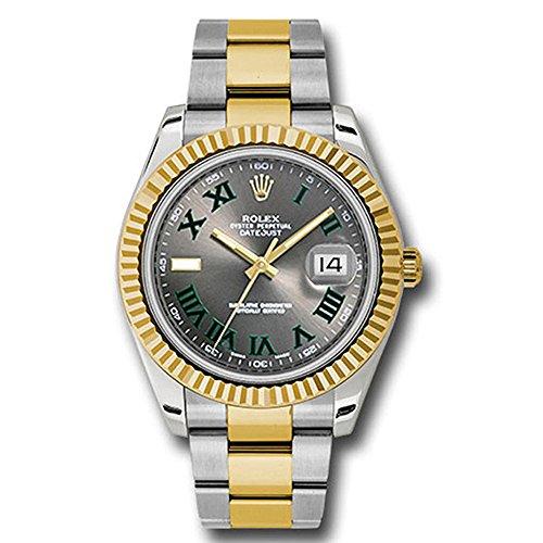 Fashion Shopping Rolex Datejust II 41 Grey Green Roman Dial Steel 18k Yellow Gold and Diamonds Mens Watch 116333