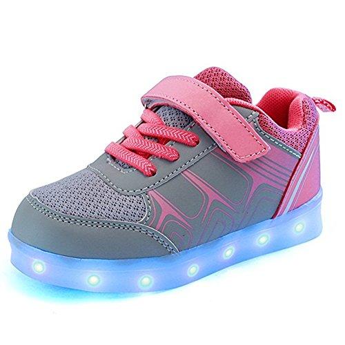 DoGeek Zapatos LED Niños Niñas Negras Blanco 7 Color USB Carga LED Zapatillas Luces Luminosos Zapatillas LED Deportivos para Hombres Mujeres (Elegir 70 Tamaño Más Grande)