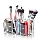 Maojuee Kosmetik Organizer Make-up Organizer aus Acryl, Make Up Aufbewahrung, Make Up Pinsel Halter für Schminke, Makeup und Dresser Bad Schlafzimmer, Transparent