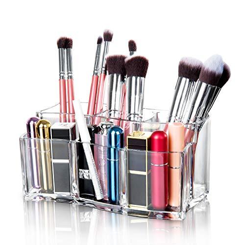 Maojuee Organizer per Cosmetici Organizzatore Trucco in Acrilico Porta Trucchi con 6 Scomparti Cosmetic Organizer Porta Pennelli Trucco, Trasparente