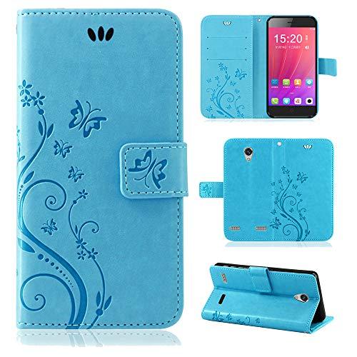 betterfon | Flower Case Handytasche Schutzhülle Blumen Klapptasche Handyhülle Handy Schale für ZTE Blade A520 Blau