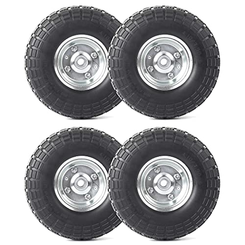 """AR-PRO (4-Pack) 10-Inch Solid Rubber Tires and Wheels - Replacement 4.10/3.50-4"""" Tires and Wheels with 5/8"""" Axle Bore Hole, 1 3/4"""" Offset Hub, and Double Sealed Bearings - Perfect for Gorilla Carts"""