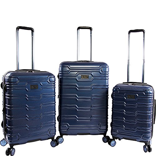 ORIGINAL PENGUIN Collins 3 Piece Set Expandable Suitcase with Spinner Wheels, Metallic Blue, One Size
