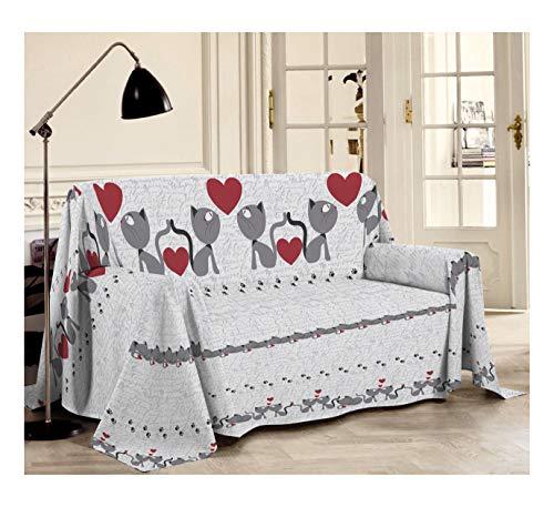 PENSIERI DELICATI Sofabezug 180 x 290 cm Made in Italy, Stoffdecken 100prozent Reine Baumwolle, Fantasie Katzen Grau, Perfekt als Sofaüberwurf, Sofa Cover oder Tagesdecke (Singlebett)