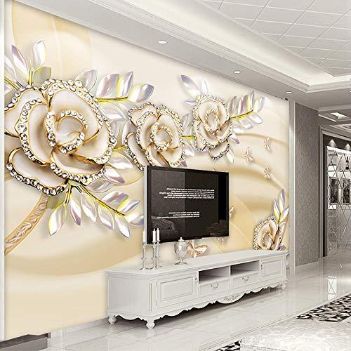 3D Mode Luxus europäischen Stil Golden Rose Blätter Tapete Benutzerdefinierte Wandbild Tapete für Wände 3 D Hotel Wohnzimmer Home Decor-200Cmx140Cm