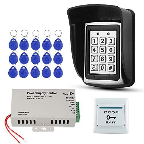 FST Kit de Sistema de Control de Acceso Impermeable al aire libre Teclado RFID Metal + Fuente de Alimentación DC12V + Tarjetas de llave EM4100 de 15 piezas (Sin Cerradura)