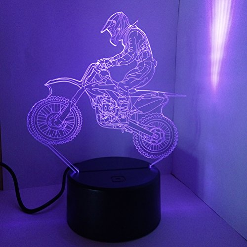 LEDMOMO 3D Lampe Nachtlicht Mood Light Tischlampen 3D Optische Täuschung Schreibtischlampe 7 Farbwechsel Touch Switch Nachtlicht (Motorrad)