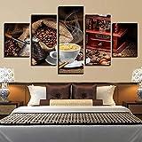 HNSYZS Pared 5 Paneles Piezas de Panel Granos de café Taza de café Comida Postre Cocina Lonas de HD Fondo del Dormitorio