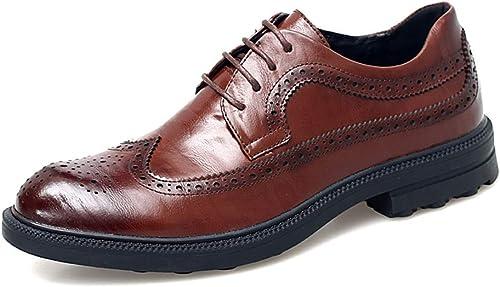 2018 Chaussures de Loisirs rétro pour Hommes, Style Britannique Richelieus Homme (Couleur   Marron, Taille   41 EU)