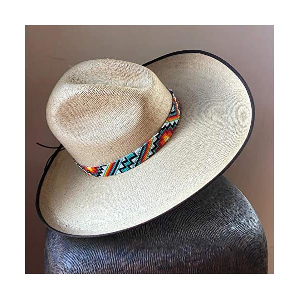 Hat Band, Cowboy Western Beaded Hatband Turquoise, Men and Women Quality Product, Aztec Designs, Handmade in Guatemala 7/8 x 21.5 Inches