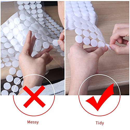 AIEX 500pcs (200 Pair 20mm Diameter Sets and 50 Pair 25mm Diameter Sets) Sticky Back Coins Hook & Loop Self Adhesive Dots Tapes (White) Photo #4