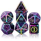 Set de Dados de rol Poliédrico Dice Set, 7 Piezas Juego de Dados DND Aleación de Zinc Sólido de Metal RPG D&D Dados Juegos de rol Dados para Dungeons and Dragons Juego de Mesa (Colorful - Black)