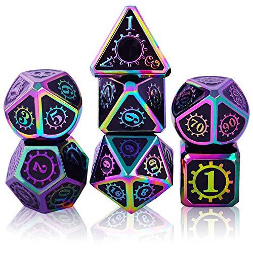 Schleuder Set di Dadi D&D Metallo DND, 7 Dice Set Poliedrici per Dungeons And Dragons, Gioco di Ruolo da Gioco Tavolo per Rpg Pathfinder Insegnamento della Matematica (Colorful - Black)