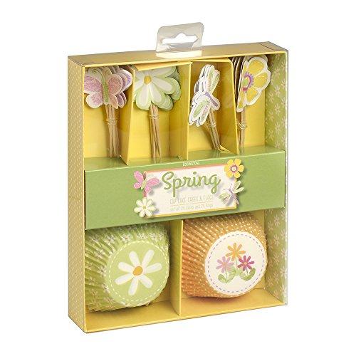 Printemps Cupcake Muffin avec ensemble de Motif de fleur ? Ensemble